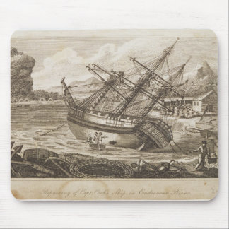 Repairing of Captain Cooks ship Mouse Mat