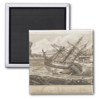 Repairing of Captain Cooks ship Square Magnet