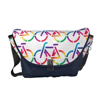 Repeat Pattern Rainbow Bicycle Bag Messenger Bags