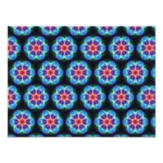Repeating Blue flower kaleidoscope pattern Photograph