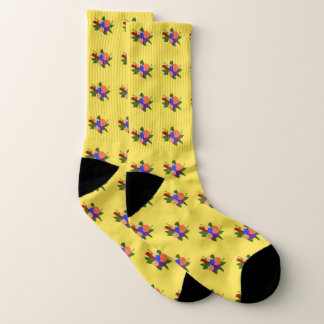 Repeating Multi-coloured Flower Bouquet Socks