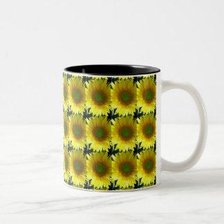 Repeating Sunflowers Two-Tone Coffee Mug