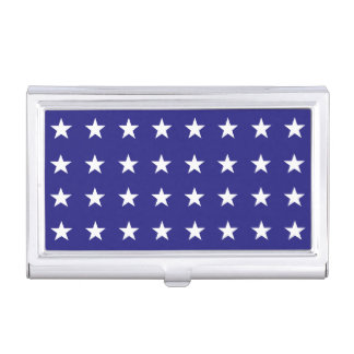 Repeating White Stars on Blue Background Pattern Business Card Holder