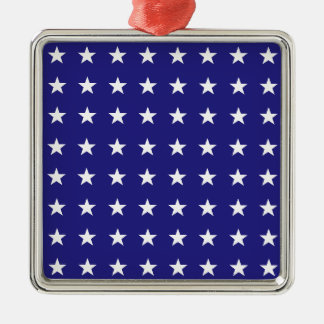 Repeating White Stars on Blue Background Pattern Christmas Ornament