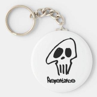 Repentance noir fond blanc basic round button key ring