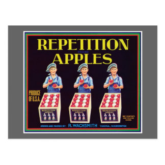 Repetition Apples Vintage Label Postcard