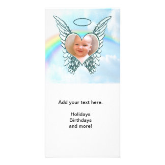 Replace Photo Angel Wings and Heart Customised Photo Card