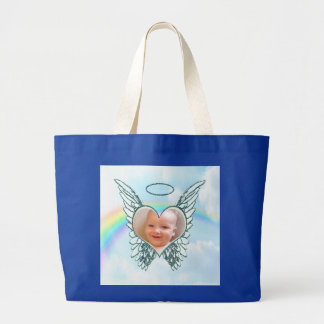 Replace Photo Angel Wings and Heart Jumbo Tote Bag