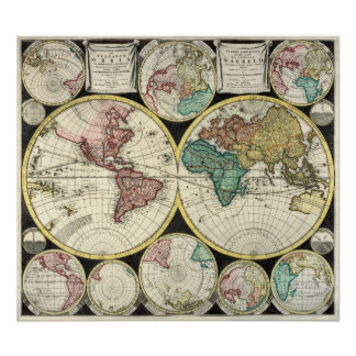 Replica Antique Map of the World Heavy Weight Poster