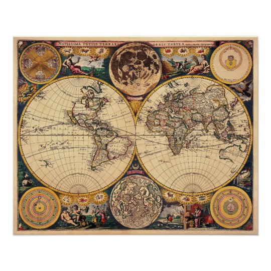 Replica Antique Map of the World Poster