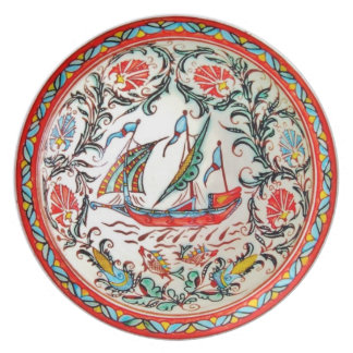 Replica Folk Art Pottery Greek sailboat furled Plate