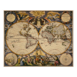 Replica of Antique Map of the World poster