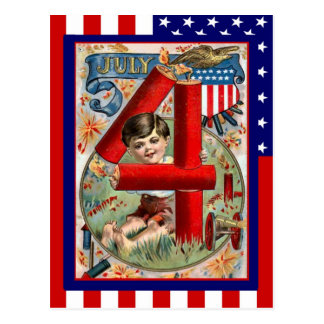 Replica Vintage 4th of July, Boy with firecrackers Postcard