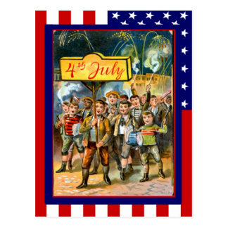 Replica Vintage 4th of July, Kids with banner Postcard