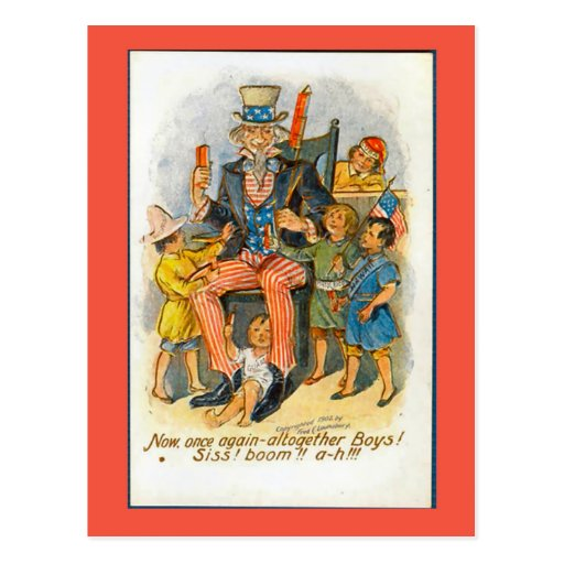Replica Vintage 4th of July postcard Uncle Sam