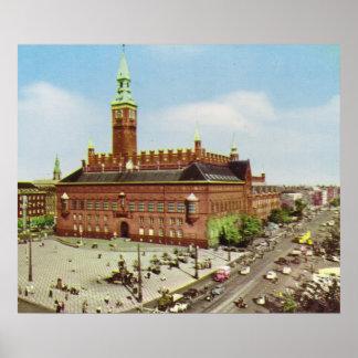 Replica Vintage Denmark, Copenhagen, City Hall Poster