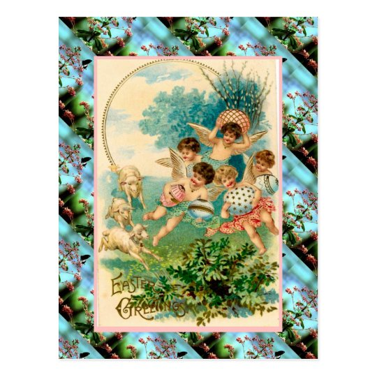 Replica Vintage Easter card, Cherubs with eggs Postcard