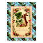 Replica Vintage Easter card, Rabbit and clover Postcard