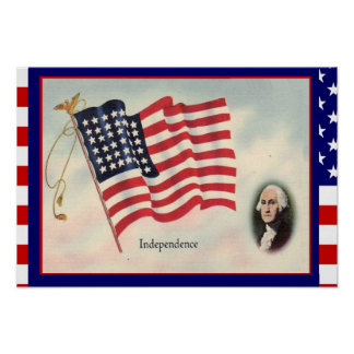"Replica Vintage image, 4th July"" George Washington Poster"