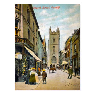 Replica Vintage Image, Cardiff, Church Street Postcard