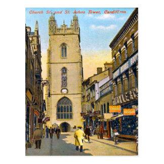 Replica Vintage Image, Cardiff, St John's Church Postcard