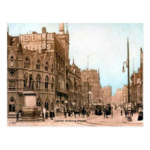Replica Vintage Image, Cardiff, St Mary street Post Cards
