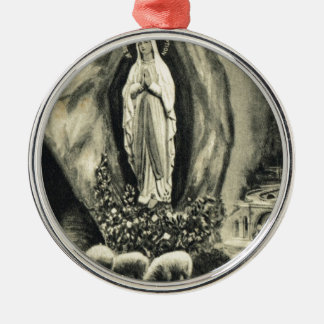Replica Vintage image Lourdes, 1895 Pilgrimage Silver-Colored Round Decoration