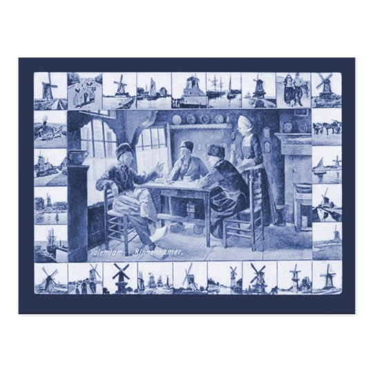 Replica Vintage postcard, Blue Delft designs Postcard