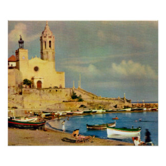Replica Vintage Spain,  Sitges waterfront Poster