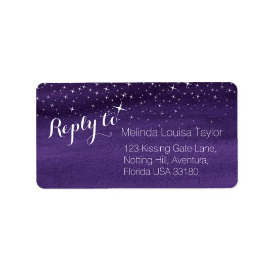 Reply starry night sky wedding address labels