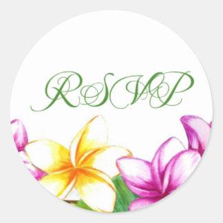 Reply wedding sticker, RSVP Plumeria sticker