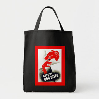 Report Dog Bites Grocery Tote Bag