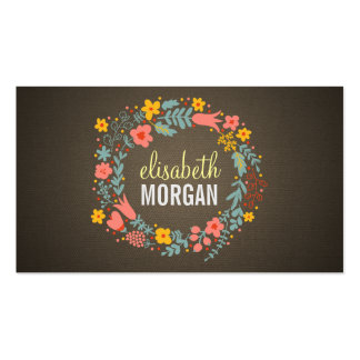 Reporter - Burlap Floral Wreath Pack Of Standard Business Cards