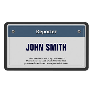 Reporter Cool Car License Plate Business Card Template
