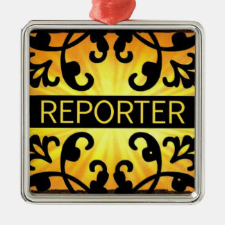 Reporter Damask Christmas Ornament