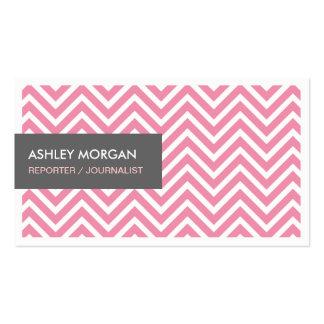 Reporter Journalist - Light Pink Chevron Zigzag Pack Of Standard Business Cards