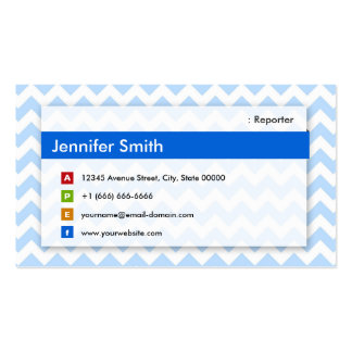 Reporter - Modern Blue Chevron Double-Sided Standard Business Cards (Pack Of 100)
