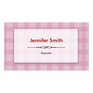 Reporter - Pretty Pink Squares Business Card