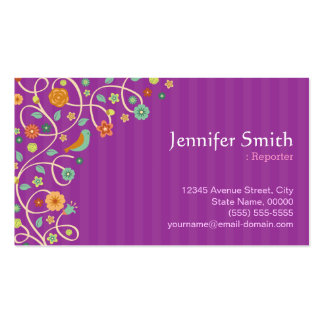 Reporter - Purple Nature Theme Pack Of Standard Business Cards