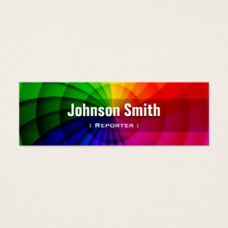 Reporter - Radial Rainbow Colors Mini Business Card