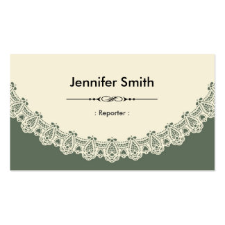 Reporter - Retro Chic Lace Double-Sided Standard Business Cards (Pack Of 100)