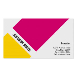 Reporter - Simple Pink Yellow Double-Sided Standard Business Cards (Pack Of 100)