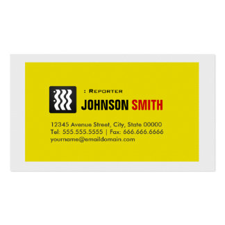 Reporter - Urban Yellow White Business Card Template