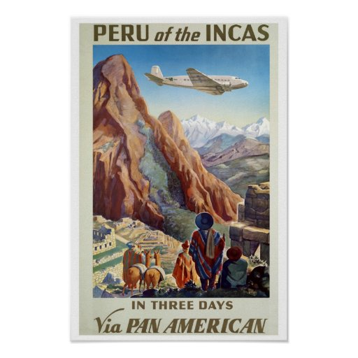 Reprint of a Vintage Air Travel Poster