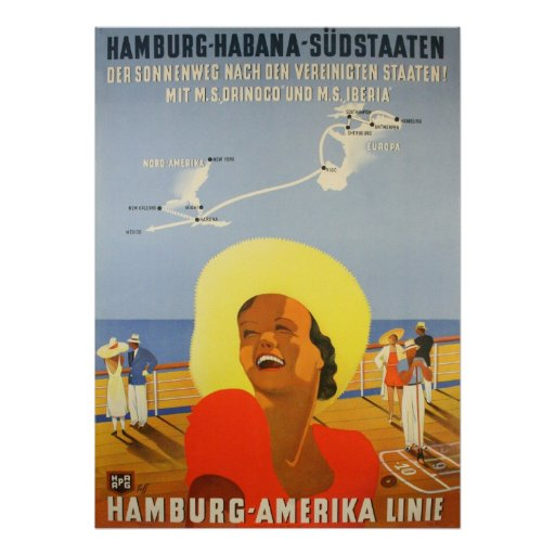 Reprint of a Vintage German Ship to Cuba Poster