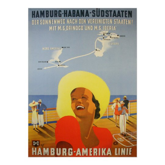 Reprint of a Vintage German Ship to Cuba Poster