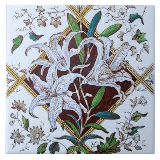 Repro 1880s Victorian Lilies Transferware Tile