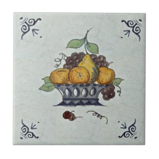 Repro Antique Delft Fruit Basket Ceramic Tile