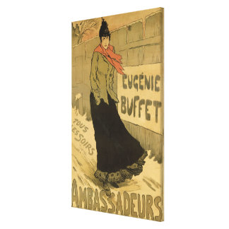Reproduction of a poster advertising 'Eugenie Buff Canvas Print