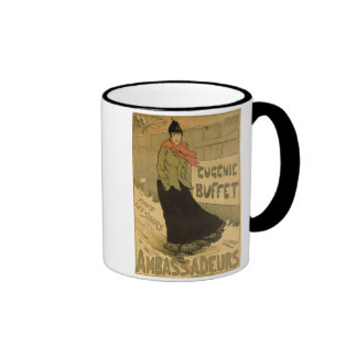 Reproduction of a poster advertising 'Eugenie Buff Coffee Mugs